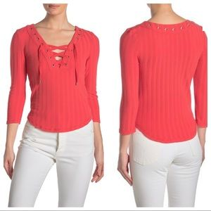 NWT Free People Ice Cold Lace-Up Top